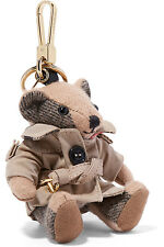 NEW BURBERRY THOMAS BEAR CAMEL CHECK TRENCH CASHMERE CHARM KEY CHAIN RING W/BOX