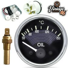 "VW Beetle T1 Classic OE Brown Style Oil Temperature Gauge & 1/8"" Switch 52mm 12V"