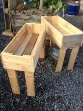 raised garden bed on legs planter box trough wooden rustic patch timber herb $59