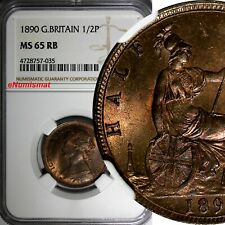 Great Britain Victoria (1837-1901) Bronze 1890 1/2 Penny NGC MS65 RB RED KM# 754