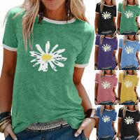 Womens Floral Summer Holiday Blouse Basic Tee Ladies Shirt Short Sleeve Tops
