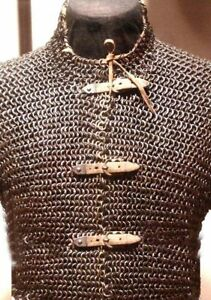 Flat Riveted Chain Mail Shirt EXTRA Large HUBERGION Front Open Blackened DGF