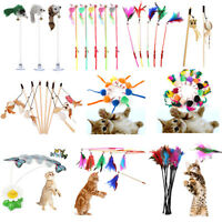 Funny Pet Cat Kitten Toy Mouse Teaser Wand Feather Rod Cat Play Toys Interactive