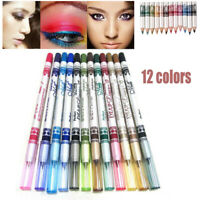 12 Colors Eye Shadow Pencil Lip Liner Eyeliner Pen Eye Makeup Cosmetic Set