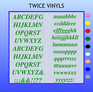 SELF ADHESIVE LETTERS stickers graphics TIMES 30mm OR 35mm high vinyl alphabet