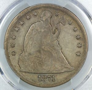 PCGS F15 1871 SEATED LIBERTY SILVER DOLLAR $1    (BC24)