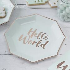 HELLO WORLD BABY SHOWER PLATES x 8 - Metallic Rose Gold Details - RANGE IN SHOP