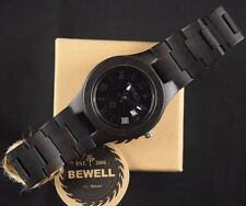 Mens Round Face Wooden Watch by Bewell - Black Sandalwood - w/ Roman Numerals