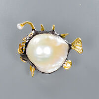 Natural Baroque Pearl Brooch Silver 925 Sterling Vintage /NB08423