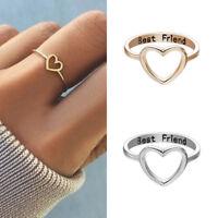 Women Love Heart Best Friend Ring Promise Lettered Friendship Rings Girl Gift
