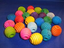 "10 Wood 1"" Beehive Beads 5/16"" hole Assorted Colors Parrot, Bird Toy Part"