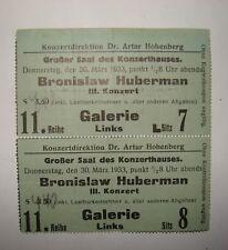 Jewish Judaica 1933 Austria Wien Bronislaw Huberman Ticket Program Concert Music