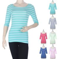Womens Half Sleeve All Over Striped Boat Neck Top Casual Cotton Easy Wear S M L