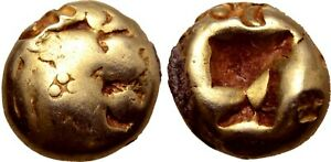 WORLD'S OLDEST COINS! LYDIA Alyattes 610-560 BC 1/12 Stater Rare Ancient Gold