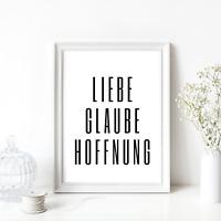 Druck Kunstdruck A4 Spruch Liebe Glaube Hoffnung Bibel Typographie Bild Neu