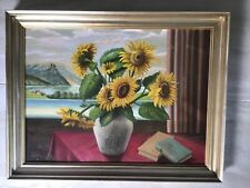 Ölgemälde Bild mit Bilderrahmen Antik Holzrahmen Blumen