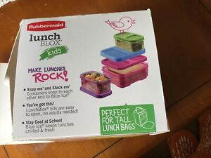 New BPA FREE Rubbermaid Lunch Blox Kids Container Kit with Blue Ice