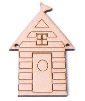 Wooden MDF Beach Hut Bunting Beach House detail Craft shape Bunting
