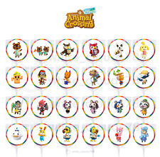 """24 Animal Crossing New Horizons Characters Item 1.67"""" Sticker Label Party Favor"""