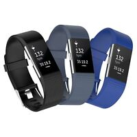 3x Ersatz Armband für Fitbit Charge 2 Fitness Tracker Schwarz-Dunkelgrau-Blau