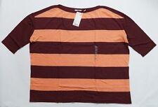 UNIQLO WOMEN Wide Striped 3/4 Sleeve T-Shirt Wine (074287)