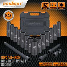 18 Pcs 12 Inch Drive Deep Impact Socket Set Sae Inch Axle Hub Nut 6 Point Cr V