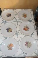 Schirnding Bavaria Set Of 10 Salad Plates with fruit design and gold rims