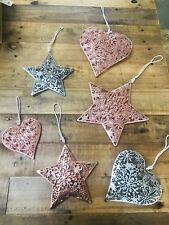 Hanging Metal STAR HEART COPPER ROSE GOLD SILVER Rustic Christmas Winter Wedding
