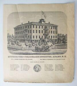 Vintage 1864 Engraving Hungerford Collegiate Institute, Adams, NY