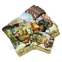 4 x Cockerel & Hen Dining Tableware Coasters / Placemats Table Place Setting Mat
