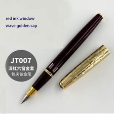 Wing Sung 601A Wave Golden Cap Vacumatic Fountain Pen Fine Nib Ink Window Red