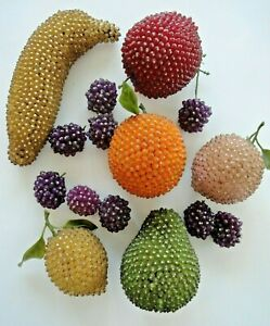 VINTAGE 1950 -1960 BEADED PUSH PIN MULTI COLOR  LIFE SIZE Hand Made FRUIT