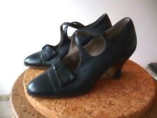 VINTAGE ANTIQUE 1920s 1900 WH SMITH SHOES BLUE LEATHER SOLES UPPERS 4 STRAPS