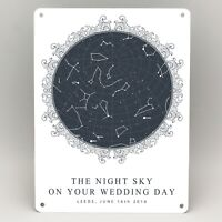WEDDING ANNIVERSARY PERSONALISED STAR MAP GIFTS METAL SIGN PRINT FOR HER HIM