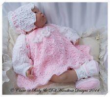 "BABYDOLL HANDKNIT DESIGNS KNITTING PATTERN DRESS SHRUG SET 16-22"" DOLL 0-3M BABY"