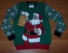 Size L Mens Ugly Christmas Sweater Santa Drinking Beer