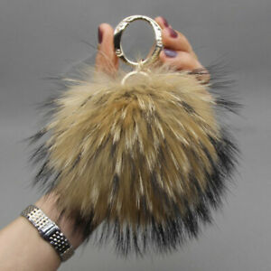 15cm Large Real Natural Fox Fur Ball PomPom Keychain Keyring Bag Pom Pom Pendant