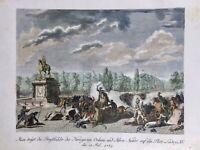 Émeutes à Paris en 1789 Place Louis 15 Rare Gravure Révolution Française