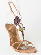 New Sergio Rossi  Brown Leather Flower Sandals Size 40 US 10