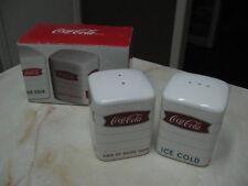 COCA COLA FISHTAIL SIGN OF GOOD TASTE LOGO SALT & PEPPER SHAKER SET - NEW