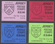 JERSEY 1984 - 1988 ARMS OF JERSEY STAPLED BOOKLETS X 4 SGSB35, SB37, SB38, SB40.