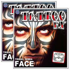 Tribal Zebra Temporary Face Tattoo Makeup Kit - Set of 2 Complete Tinsley TT65