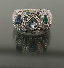 NEW J. RIPKA SWISS BLUE TOPAZ + CABOCHON SAPPHIRE & EMERALD TEXTURED SILVER RING