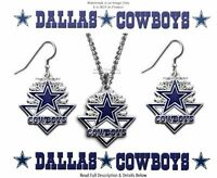 DALLAS COWBOYS NECKLACE & EARRINGS JEWELRY SET NFL FOOTBALL GIFT - FREE SHIP CA'
