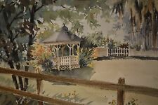 "Beautiful Oscar Rayneri Original Watercolor ""Gazebo in Quaint Woods"" Pro Framed!"