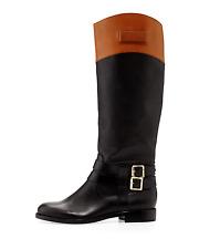 $545 Rachel ZOE Sz 10 Black Leather GRAYSON Buckle Detail Knee High Riding Boots