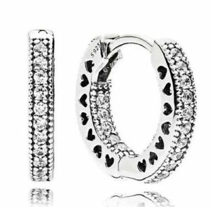 Authentic Pandora Silver Pavé Heart Hoop Earrings