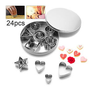 24pcs Stainless Steel Mini Food Cookie Cutter Set Baking Pastry Multiple Shapes