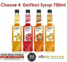 4 x DaVinci Coffee Flavouring Syrup Gourmet 750ml (10 Flavours) Gift Cafe Bakery