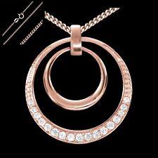 Collier Circle Anhänger Halskette 925 Silber Rosegold Vergoldet Zirkonia Rund